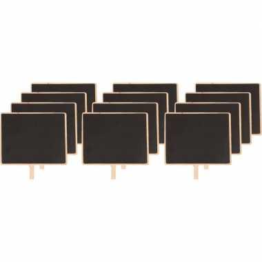 12x houten memo krijtbordje met knijper 15 x 12 cm