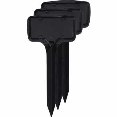 12x zwarte moestuin/groentetuin/kruidentuin labelset 24 cm