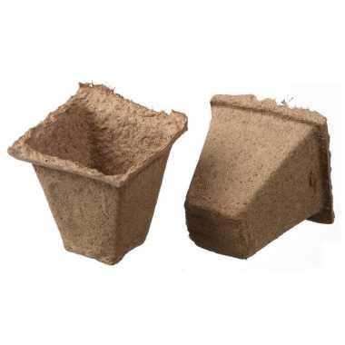 16x turfpotjes/stekpotjes 6 cm biologisch afbreekbaar