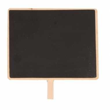 1x houten memo krijtbordje met knijper 15 x 12 cm
