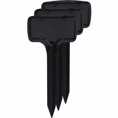 3x zwarte moestuin/groentetuin/kruidentuin labelset 18 cm