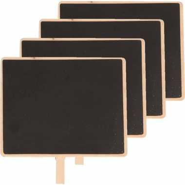 4x houten memo krijtbordje met knijper 15 x 12 cm