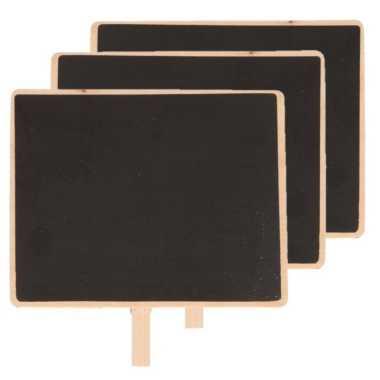 6x houten memo krijtbordjes met knijper 15 x 12 cm