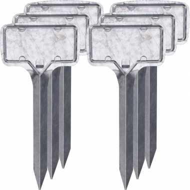 6x zilveren moestuin/groentetuin/kruidentuin labelset 24 cm
