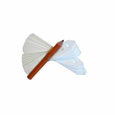 75x stuks plantenstekers / plantenetiketten wit 11 cm - inclusief potlood - moestuin/kruidentuin