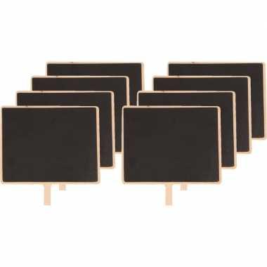8x houten memo krijtbordje met knijper 15 x 12 cm