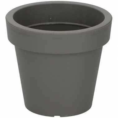 Kunststof bloempot grijs 13 cm