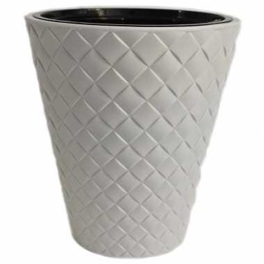 Kunststof bloempot makata wit 40 cm