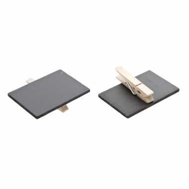 Set van 12x stuks memo krijtbordjes op houten knijper 6 x 4 cm